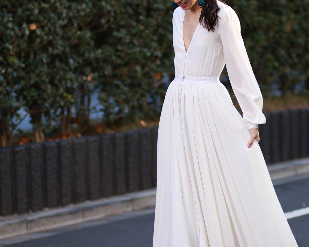 人気のホートン、ガリナ。シンプルなシャツドレスですが総シルクで上質で洗練されたデザインのドレス。レンタルしています。