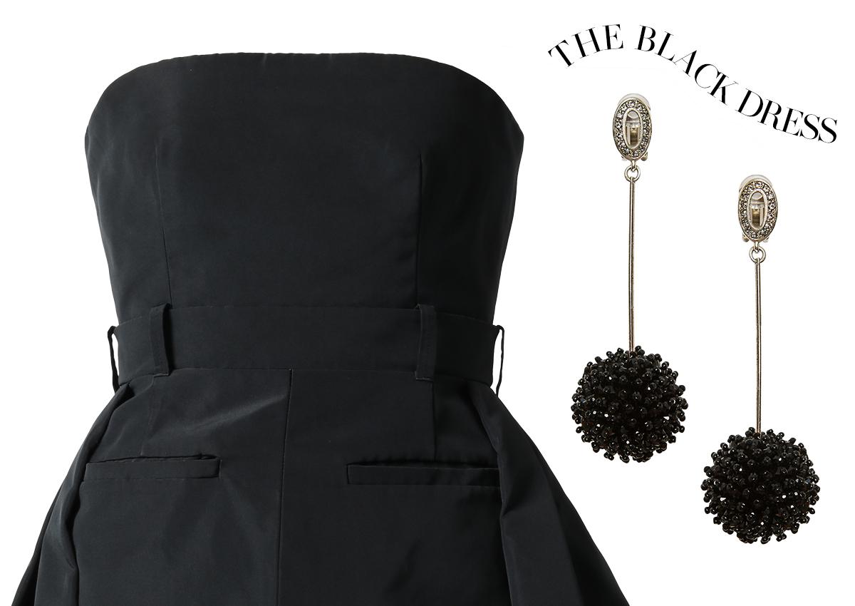 ベアトップのドレスには大振りのイヤリングがおすすめ