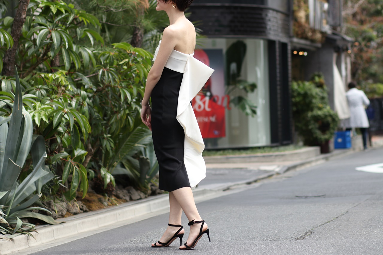 スタイルが良く見える、身体のラインを強調するパーティードレス
