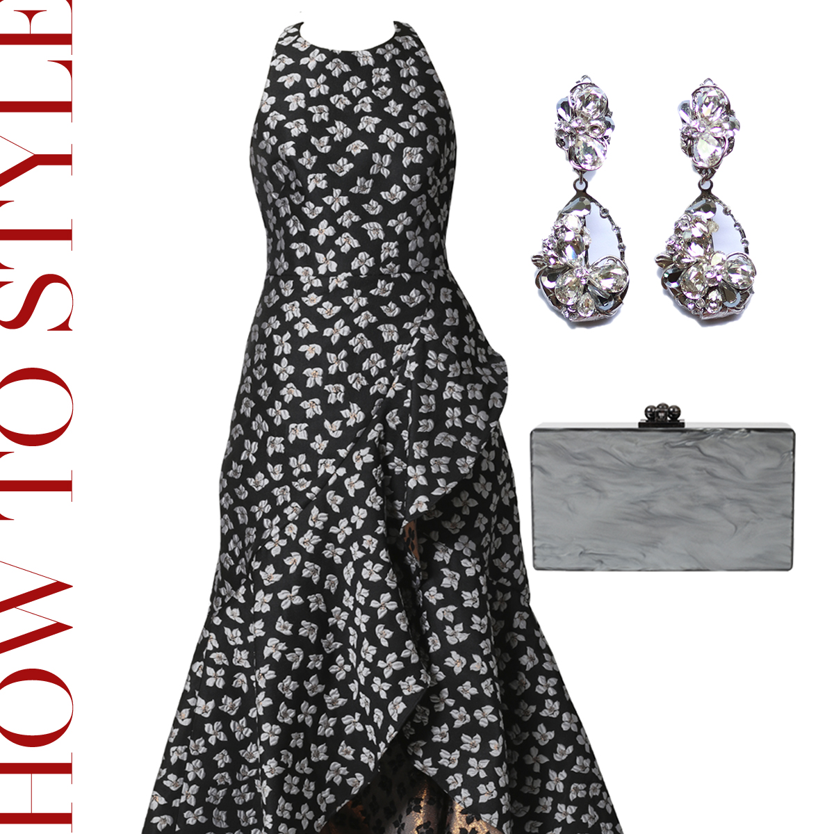 白と黒の小花模様のジャガード生地のロングドレスにグレーのアクリルのクラッチバッグとクリスタルの揺れるイヤリングを合わせたおしゃれなコーディネート