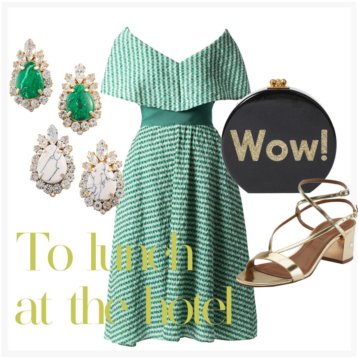 グリーンのオフショルダーワンピースで華やかなスタイリングのお出かけコーディネートのご紹介