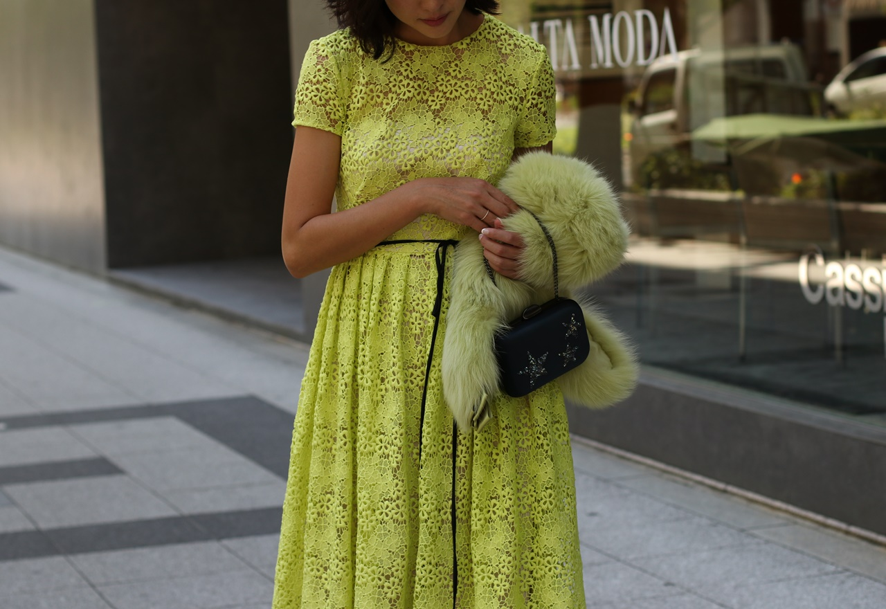 パーソナルカラーの診断別におすすめのレンタルドレスはレモンイエローの半袖の総レースのML Monique Lhuillier(エムエル・モニーク・ルイリエ)のドレス