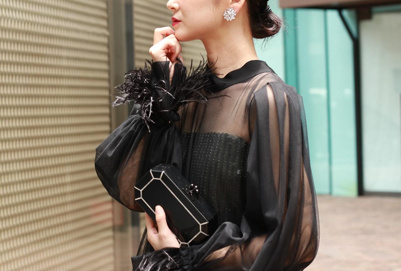 シースルーのチュールガウンの長袖のドレスは骨格ストレートの方におすすめのレンタルドレス